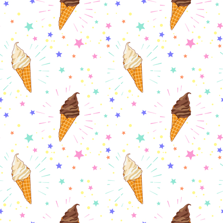 Seamless pattern of colorful ice creams on pink background with stars and circles. Cartoon illustration for web, site, advertising, banner, poster, flyer, business card. Vector illustration.