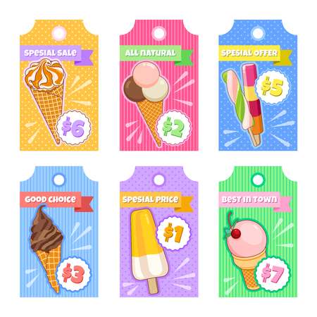 Ice cream poster. Brightly colored ice cream, waffle cones, on a beautiful background. Cartoon illustration for web, advertising, banner, poster, flyer, business card. Vector illustration.