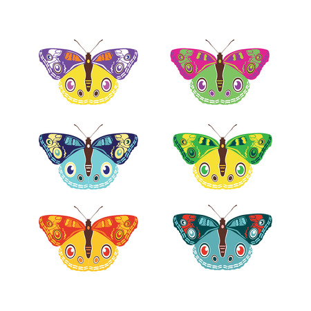 Set of colorful butterflies silhouettes collection spring and summer with different shapes of wings. Isolated on white background, for illustration, ornaments, tattoo. Vector illustration