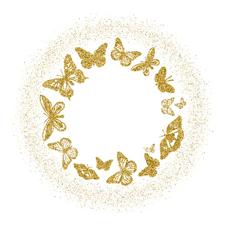 Round of golden glitter butterflies. Beautiful gold silhouettes with glow on white background . For invitation, fashion, luxury, decorative abstract design elements. Vector illustration.