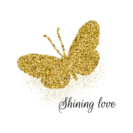 Butterfly golden glitter cute icon with text shining love. Beautiful summer golden silhouette on white. For wedding, fashion, ornaments, tattoo, luxury decorative design elements Vector illustration Ilustração