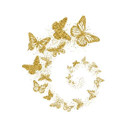 Farfalle glitter dorate volano a spirale su sfondo bianco. Bellissime sagome d'oro con ali di forme diverse. Per invito, moda, elementi decorativi di design astratto. Illustrazione vettoriale.