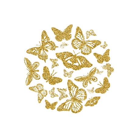 Round of golden glitter butterflies. Beautiful summer yellow gold silhouettes on white background. For wedding invitation, fashion, decorative abstract design elements. Vector illustration