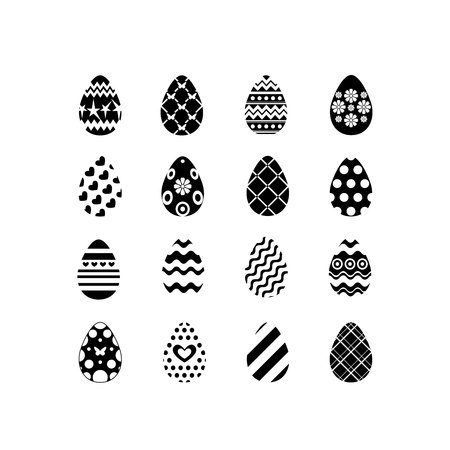 Set of black and white happy easter eggs silhouettes on white background with different ornaments and texture. Vector illustration