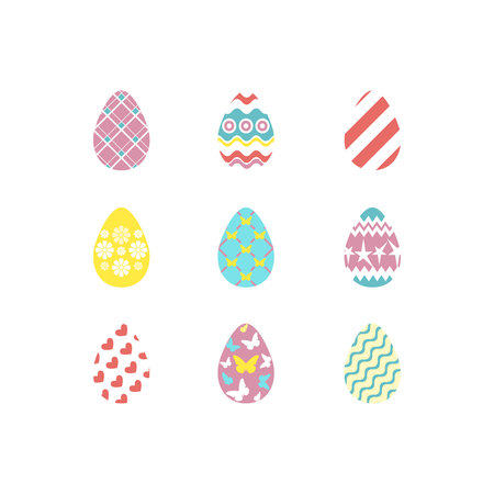 Set of colorful happy easter eggs silhouettes on white background with different ornaments and texture. Egg icons in coral, yellow, turquoise, pink colours. Vector illustration Ilustração