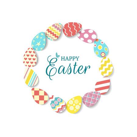 Round frame of colorful eggs with text Happy easter and butterfly on white background. Egg icons in coral, yellow, turquoise, pink colours with different ornaments and texture. Vector illustration.