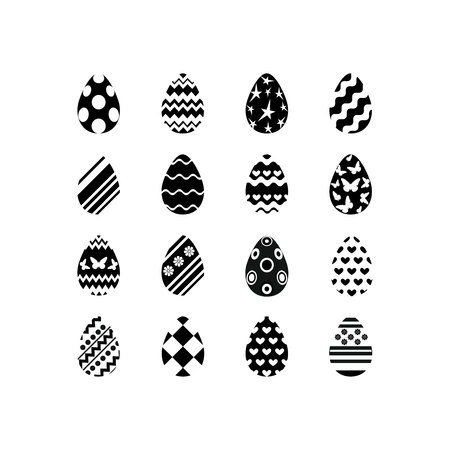 Set of black and white happy easter eggs silhouettes on white background with different ornaments and texture. Vector illustration. Ilustração