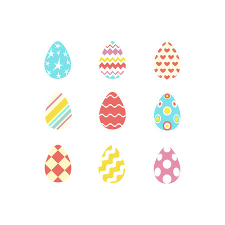 Set of colorful happy easter eggs silhouettes on white background with different ornaments and texture. Egg icons in coral, yellow, turquoise, pink colours. Vector illustration.