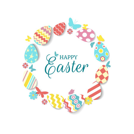Round frame of colorful eggs, butterflies, flowers with text Happy easter on white. Icons in coral, yellow, turquoise, pink colours with different ornaments and texture. Vector illustration.