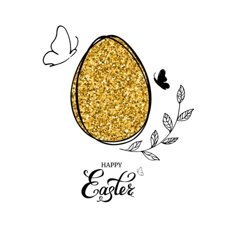 Gold glitter easter egg with Happy Easter text lettering, hand drawn butterflies and leaves on white background. Vector illustration