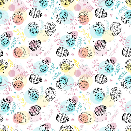 Seamless easter pattern with ornamental hand drawn eggs, leaves, butterflies and transparent colorful dots . Easter holiday colorful background. Vector illustration