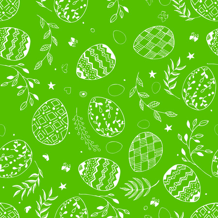 Seamless easter pattern with ornamental white hand drawn eggs, leaves, butterflies on green background. Easter holiday background. Vector illustration