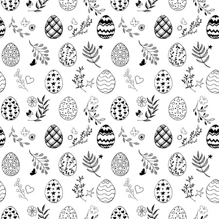 Seamless easter pattern with ornamental black hand drawn eggs, leaves, butterflies on white background. Easter holiday background. Vector illustration