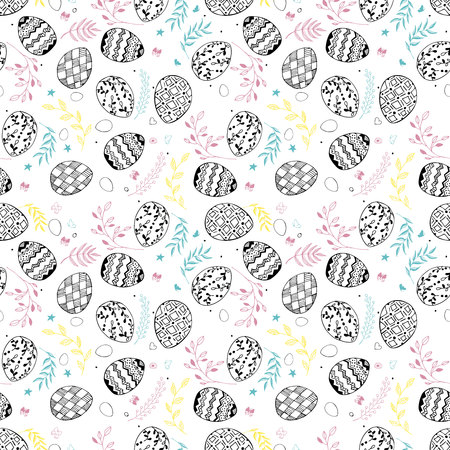 Seamless easter pattern with ornamental hand drawn eggs, leaves, butterflies. Easter holiday colorful background. Vector illustration Ilustração