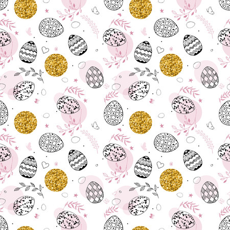 Seamless easter pattern with gold glitter dots, ornamental black hand drawn eggs, leaves, butterflies on white background. Easter holiday background with gold and pink color. Vector illustration Ilustração