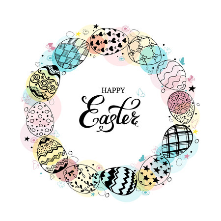 Round frame with easter eggs and text happy easter hand drawn black on white background. Decorative circle from eggs. Easter eggs with colorful butterflies and dots. Vector illustration
