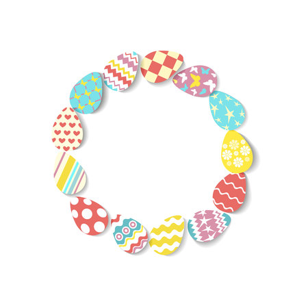 Round frame of colorful eggs on white background. Egg icons in coral, yellow, turquoise, pink colours with different ornaments and texture. Vector illustration