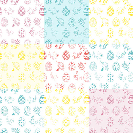 Seamless easter patchwork pattern with ornamental hand drawn eggs, leaves, butterflies. Easter holiday colorful background. Vector illustration