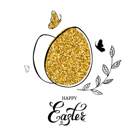 Gold glitter easter egg with Happy Easter text lettering, hand drawn butterflies and leaves on white background. Vector illustration.