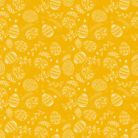 Seamless easter pattern with ornamental white hand drawn eggs, leaves, butterflies on yellow background. Easter holiday background. Vector illustration