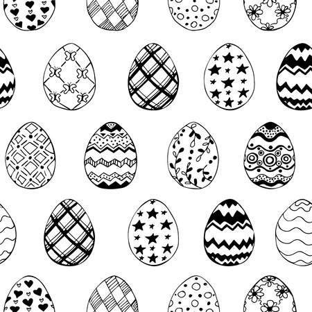 Seamless easter pattern with ornamental black hand drawn eggs on white background. Easter holiday background. Vector illustration