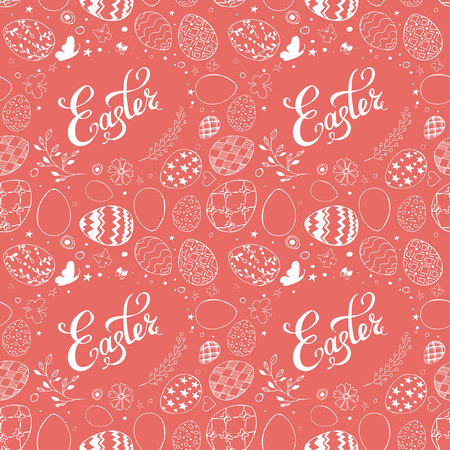 Seamless easter pattern with ornamental white hand drawn eggs, leaves, butterflies and lettering Easter on coral background. Easter holiday background. Vector illustration. Ilustração
