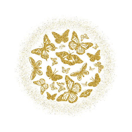 Round of golden glitter butterflies. Beautiful summer yellow gold silhouettes with glow on white background. For wedding invitation, fashion, decorative abstract design elements. Vector illustration Ilustração