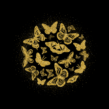 Round of golden glitter butterflies. Beautiful summer yellow gold silhouettes with glow on black background. For wedding invitation, fashion, decorative abstract design elements. Vector illustration