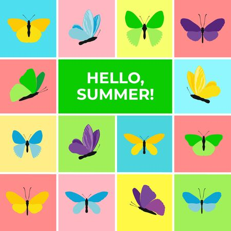 Colorful banner of butterflies, text Hello Summer. Set of spring and summer butterfly icons. Background for promotional posters, advertising, booklet, discount banners, sale. Vector Illustration