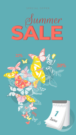 Summer sale banner with colorful butterflies flying from calendar on turquoise background. Vector illustration.