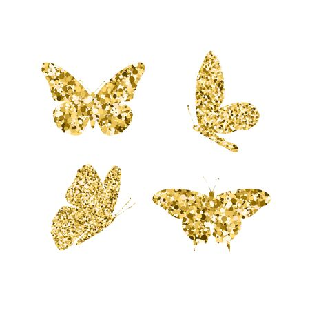 Set gold glitter butterflies. Beautiful spring, summer golden sequins silhouettes on white background. Icons different shapes wings, for fashion, ornaments, tattoo. Vector illustration Ilustração