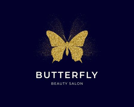 Golden butterfly silhouette with gold confetti texture and glow with text Butterfly on dark blue background. Vector logotype. Icon for label, brand, fashion, wedding invitations, cards Ilustração