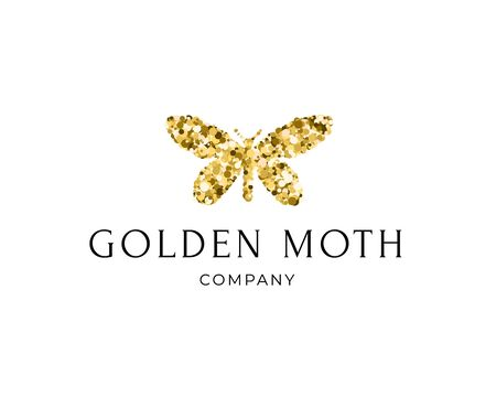 Butterfly silhouette with golden glitter confetti texture on white background with text Golden Moth. Vector logotype. Icon for label, brand, fashion, wedding invitations, cards Ilustração