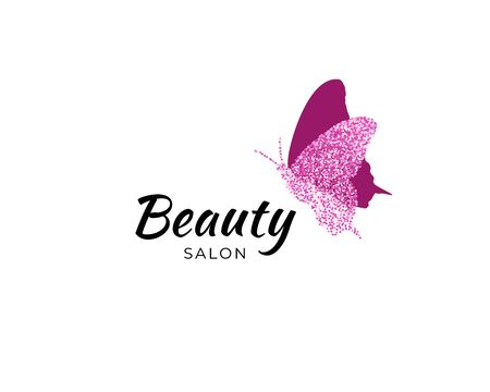 Colored butterfly silhouette with colorful confetti texture with text Beauty Salon on white background. Vector logotype. Icon for label, brand, fashion, wedding invitations, cards Ilustração