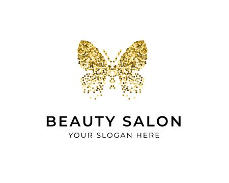 Butterfly silhouette with golden glitter confetti texture on white background with text Beauty Salon. Vector logotype. For label, brand, fashion, wedding invitations, cards