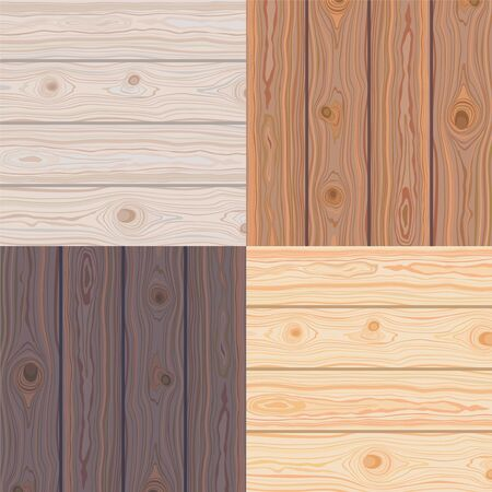 Set of Wooden striped textured background. Brown wooden wall, plank, table or floor surface. Cutting chopping board. Colorful natural boardwalk surface. Vector Illustration