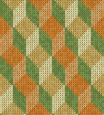 Knitting classic geometric pattern. Knitted realistic seamless background, texture. Vector seamless background for banner, site, greeting card, wallpaper. Vector Illustration.
