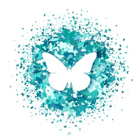 White butterfly on round of turquoise glitter confetti butterflies on white background. Vector. Creative concept for wedding invitations, cards, tickets, congratulations, branding, logo, label Ilustração