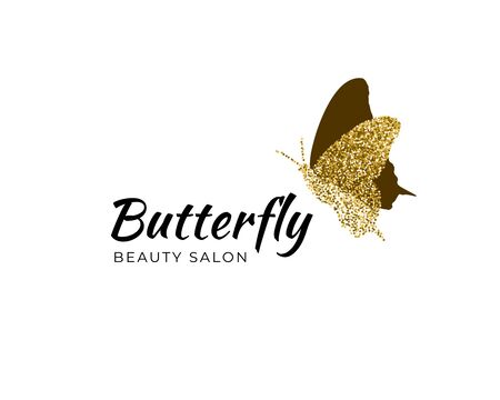 Golden butterfly silhouette with gold confetti texture with text Beauty Salon on white background. Vector logotype. Icon for label, brand, fashion, wedding invitations, cards Ilustração