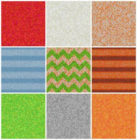Set di modelli a maglia. Sfondi realistici di campioni. Ornamenti geometrici, maglioni scandinavi trama a punto cavo. Elementi decorativi di design carta regalo, pacchetto, biglietti di auguri.
