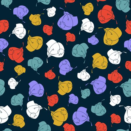 Seamless repeat pattern with cute flowers in turquoise, violet, yellow, and red on deep blue background. Hand drawn floral texture for fabric, gift wrap, wall art design