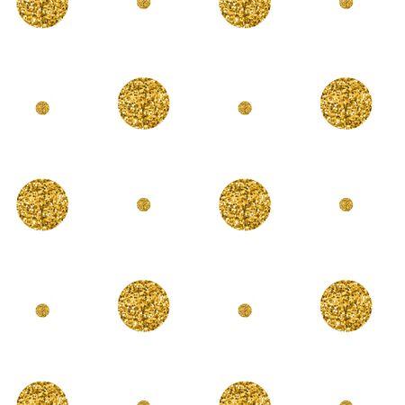 Patrón transparente de puntos brillantes de oro sobre fondo negro. Ilustración vectorial