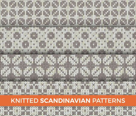 Knitted Patterns Set. Realistic samples backgrounds. Geometric ornaments, scandinavian sweaters cable stitch texture. Decorative design elements gift paper, packet, greeting cards.