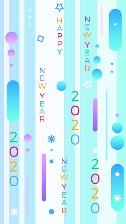2020 Happy New Year. Paper Memphis geometric bright style for holidays flyers, greetings, invitations, Happy New Year or Merry Christmas cards. Holiday background, poster, banner. Vector Illustration Illustration
