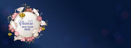 Happy Chinese New Year 2020. Six rats on white round signboard. White mouses, golden lanterns, pink flowers on blue background. For cover social network, greeting cards, banner. Vector illustration