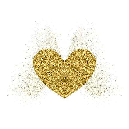 Heart golden glitter icon with glitter glow butterfly wings. White background. For Valentine's day, wedding cards, invitation, fashion, ornaments, luxury design elements. Vector illustration.