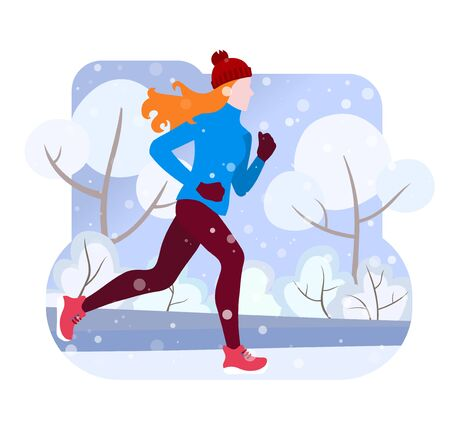 Winter running. The girl runs in winter through the city Park, trees and bushes in the snow. Banner, poster, greeting card of a healthy lifestyle. Vector Illustrtion