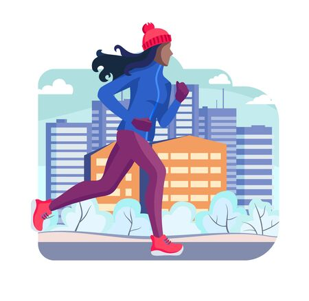 Winter running. The girl runs on a winter evening in the city Park, trees. bushes in the snow. On the background of the house with Windows. Banner, poster, card, healthy lifestyle. Vector Illustrtion