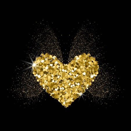 Heart golden glitter icon with glitter glow butterfly wings. Black background. For Valentine's day, wedding cards, invitation, fashion, ornaments, luxury design elements. Vector illustration. Archivio Fotografico - 138454107