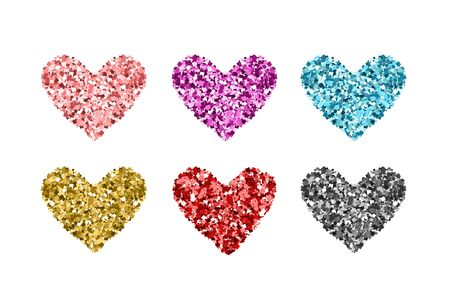 Set glitter color hearts. Gold, blue, red, silver, pink sequins icons on white background. Icons for Valentine's day, wedding cards, invitation, fashion, ornaments, luxury design. Vector illustration.